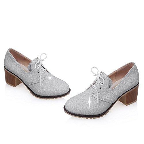 AllhqFashion Femme Rond Lacet Tissu à Paillette Couleur Unie à Talon Correct Chaussures Légeres Argent