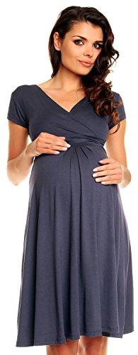 Grau Umstandskleid (Zeta Ville - Damen - Umstandskleid - Kurzarm - Sommerkleid für Schwangere - 108c (Blau Grau, EU 50, 4XL))