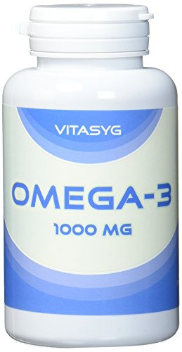 Lachs-Öl-kapseln (Vitasyg Omega 3 Fischöl Kapseln 1000 mg 18 prozent EPA, 12 prozent DHA - 100 Stück, 1er Pack (1 x 137 g))