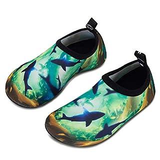 HMIYA Kinder Badeschuhe Wasserschuhe Strandschuhe Schwimmschuhe Aquaschuhe Surfschuhe Barfuss Schuh für Jungen Mädchen Kleinkind Beach Pool(Lila 32 33)