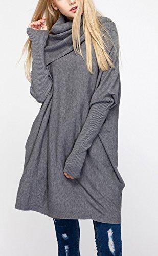 Elonglin Femme Pulls Tricots Collier de Tas Pull-over à Col Roulé Manche Côtelée Chandail Col Haut Sweat-shirt Lâche Tops Uni Gris