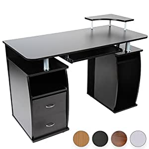 miadomodo bureau bureau avec tablette coulissante pour clavier 2 tiroirs monitorplattform. Black Bedroom Furniture Sets. Home Design Ideas