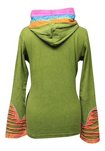 Shopoholic Grunge Emo Gothique Hippie Femme Festival Coton Rétro Veste À Capuche green