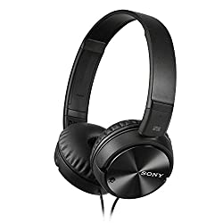 Sony Headphone MDR-ZX110NA Foldable Strap Headphone with Digital Noise Canceling, Black