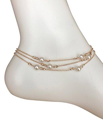 Three Chain Anklet Gold Pearl Ankle Bracelet, Length - 25cm + 5cm Extension