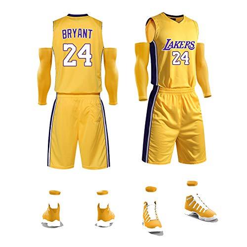 Legend Black Mamba # 24 Kobe Bryant-Basketballtrikot, schnell trocknendes ärmelloses Herren-Fitness-T-Shirt, Anzugoberteil + Shorts-Basketballanzug, (S-XXXXXL)-gold-5XL(186-195CM) -