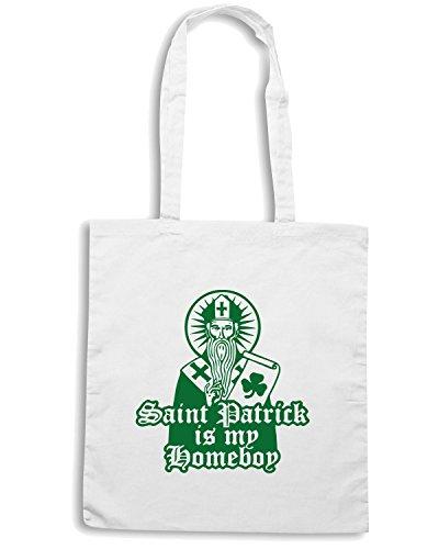 T-Shirtshock - Borsa Shopping TIR0174 saint patrick is my homeboy white tshirt Bianco