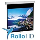 ULTRALUXX  Rolloleinwand 200 cm x 113 cm (229 cm Diagonale) 16:9 Format Automatik soft return 3D Full HD NEUES Modell 2017