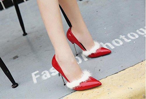 Pattini da cerimonia nuziale Pumps Scarpin 11cm Heel Decorazione dei capelli del coniglio PU Summer Women Peep Toe Shoes UE Taglia 35-40 Red