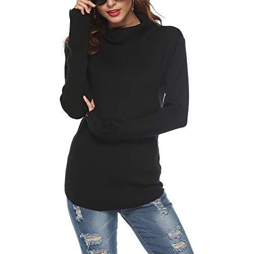 SIRUITON Damen Strickpullover Sweater Rollkragen Pullover Elegant Jumper Strick Pulli Damen Sweater, Large(DE42-44), Schwarz
