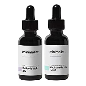 Minimalist Daily Oil-Control AM/PM Duo Serums For Oily Acne Prone Skin   Combo Pack with Niacinamide Serum & Salicylic Acid Serum to Reduce Excess Oil, Acne & Acne Marks   60 ml