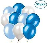 Ohigh 50 Stück Luftballons Blau Weiß Ballons für Baby Shower Junge Kinder Geburtstag Party Deko (ca.30cm)
