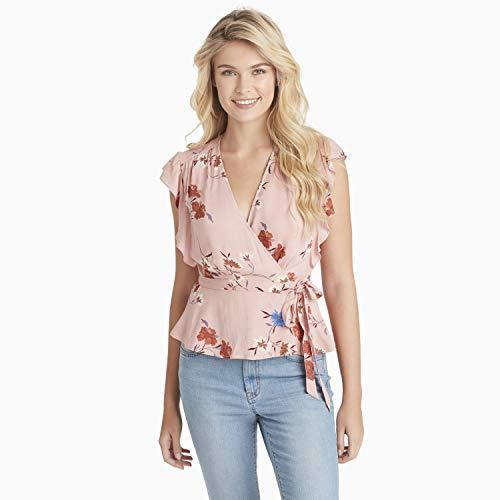 Jessica Simpson Damen Paislee Short Sleeve Surplice Blouse Hemd, Misty Rose - Multiflora Print, Groß Jessica Simpson Wrap