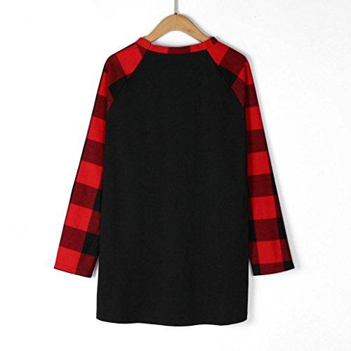 Camicia Donna Rcool casuale Design a reticolo Camicetta Maglietta Maglia pullover manica lunga Top T shirt, più dimensione Nero