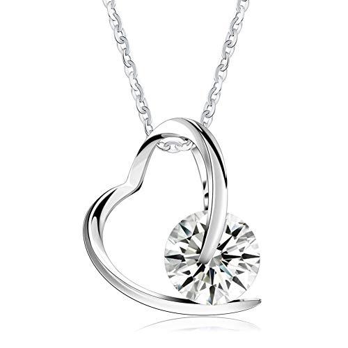 Hcbyj collana collana a forma di cuore in argento sterling 100% 925 con preziosa donzella da donna in argento zirconio austriaco aaa