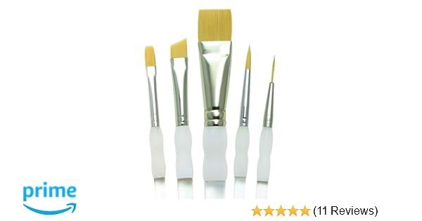 Assorted Size Royal Brush SG303 Soft Grip Round Golden Taklon Fiber Paint Brush Set Pack of 5