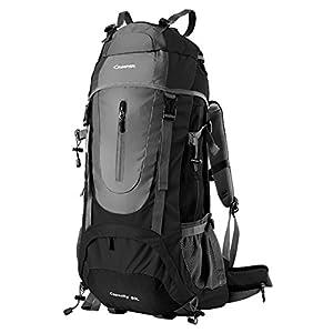 Sac à dos randonnée 45L + 5L 50L 65L+5L Housse Imperméable pour Sport Sacs de trekking Camping Backpack Alpinisme Escalade (60L+5L Noir, 60L + 5L)