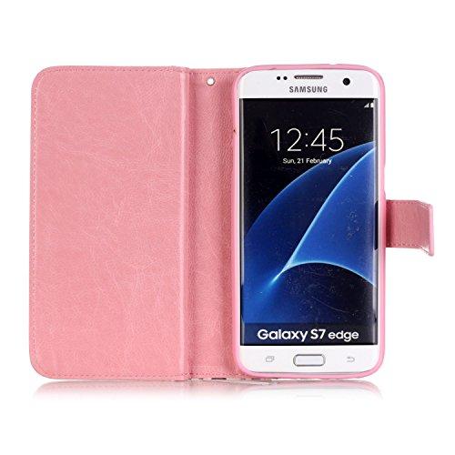 Hülle für Samsung Galaxy S7 Edge Schmetterling,TOCASO Glitter Strass Bling Ledertasche Muster Weich PU Schutzhülle für Samsung Galaxy S7 Edge Flip Cover Wallet Case Tasche Handyhülle mit Lanyard Strap #2#