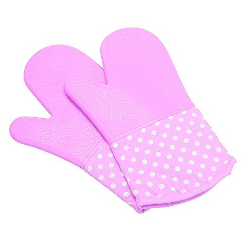UBEST Spezialität Ofenhandschuhe, 300 Celsius Silikon und Baumwolle Backhandschuhe, Topfhandschuhe, verdicken Grillhandschuhe, 1 paar, lila
