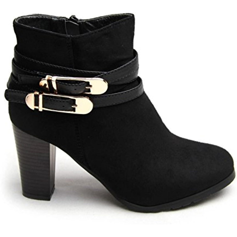 Femme Mesdames talon haut Chaussures Chelsea Boucle Sangle de cheville  bottes Casual Chaussures haut Taille - B01FO9CHUM - df5890 95a0beb8bdb5