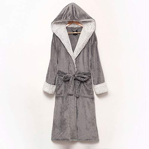 LIUY Hood Bademantel for Frauen - Plüsch-Fleece - Kimono Wrap - Frauen, Mädchen, Super Soft Komfortable Spa Bademantel Bikinihaus Leichte Robe for Frauen (Color : Gray, Size : L)