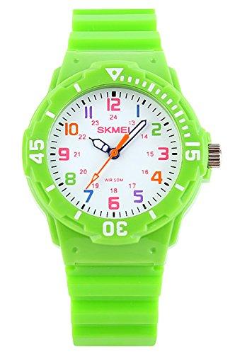 Jungen Mädchen Kinder Analog Quartz Uhren 50M Wasserdicht Zwei Zeit Display Modes Drehbarer Kompass Gelee Farbe Mode Casual Uhr für Junior Junge mit PU Strap (Grün)
