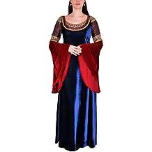 El señor de los anillos - vestido de noche de la elfa Arwen - traje de gala con mangas amplias, largo hasta los tobillos, brocado, con encaje, azul y rojo