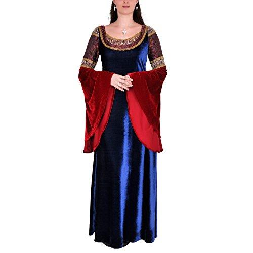 Robe longue d'elfe - robe de soirée manches amples - Brocart et dentelle - Bleu, rouge Bleu