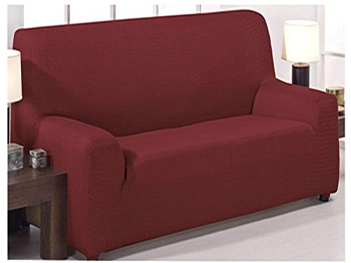 Adjustable stretch sofa cover Monaco model of 3 squares (180x240cm) available in 6 plain colors (Red, 180x240)