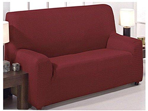 Funda de sofá elástica ajustable modelo mónaco de 3 plazas (180x240cm) disponible en 6 colores lisos (Rojo, 180x240)