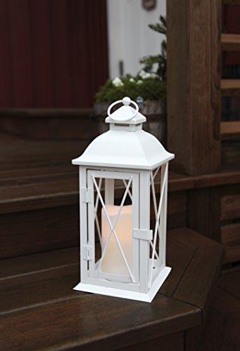 Romantisch dekorative XL - LED Laterne mit Tür - aus METALL - sehr edel - Größe : 32 cm x 13 cm - in WEISS - mit LED - Kerze flackernd - mit Timer - für Innen und Außen - Bereich - NEU - Outdoor - auch in SCHWARZ erhältlich - aus dem KAMACA-SHOP