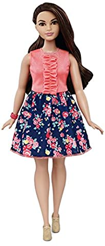 Mattel Barbie DMF28 - Modepuppe, Fashionista im pink/blauen Blumenkleid,