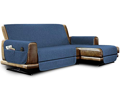 la biancheria di casa Elizabeth Plus Copridivano Antiscivolo Seduta 190 cm, con penisola Destra (Vista Frontale), Blue Jeans