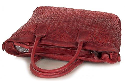 Femmes XL Shopper Sac vintage en cuir (46 x 32,5 x 15 cm) Rouge