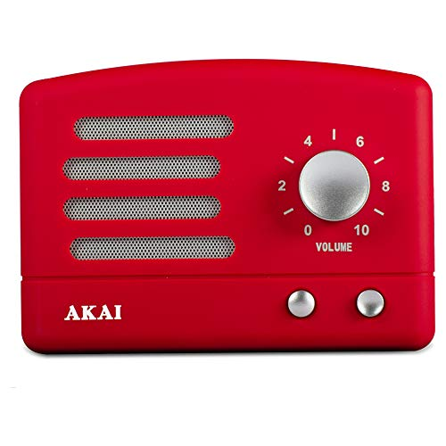 Akai R50BT - Altavoz inalámbrico Bluetooth, bateria Recargable USB, Color Rojo