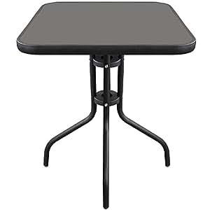 Table de bistrot en verre 60 x 60 cm avec plateau en verre noir