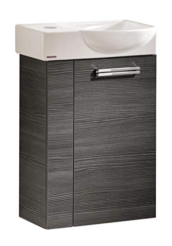 FACKELMANN Como Gäste WC Set rechts 2 Teile/Keramik Waschbecken/Waschbeckenunterschrank mit 1 Tür/Badmöbel mit Soft-Close/Türanschlag rechts/Korpus: Schwarz/Front: Schwarz/Breite: 45 cm