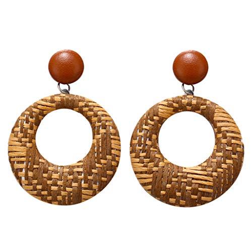 UINGKID Damen Ohrringe Mode Ohrstecker Böhmischen Stil Holz Bambus Rattan geometrische Runde Schmuck (Crocs Armband)