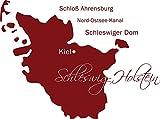 GRAZDesign 630417_57_030 Wandtattoo Wall Sticker für Wohnzimmer Büro Schleswig Holstein Karte Umriss (77x57cm//030 dunkelrot)