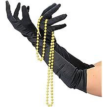 Foxxeo 10022 | Handschuhe schwarz lange schwarze lang Halloween Kostüm