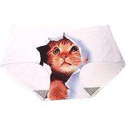 Jiajia mujeres suave sin costuras lencería Sexy gato impreso Hipster bragas Slip Blanco blanco Medium