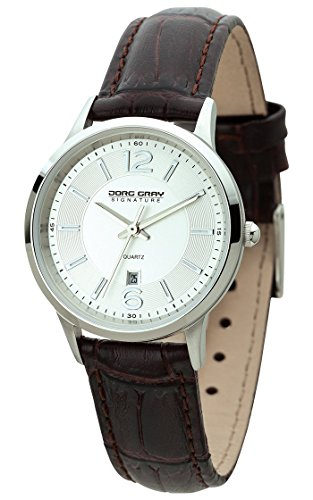 Jorg Gray Signature Collection Women's Quartz Watch with Silver Dial Analogue Display and Brown Leather Strap JGS1001