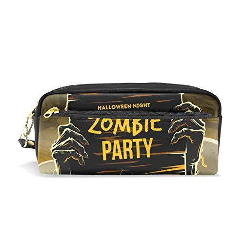 Federmäppchen, BENNIGIRY Halloween-Arme, Tote Zombie-Party, PU-Leder, große Kapazität, Stifteetui, Schreibtisch-Organizer mit Reißverschluss für Schule und Büro, 20 x 6 x 8 cm (Halloween Make-up Armee Toten)