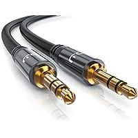 CSL - 5m Audio AUX Klinkenkabel / Verbindungskabel für AUX Eingänge | Voll-Metallstecker passgenau | 3.5mm Stecker auf 3.5mm Stecker | 3,5mm Audiokabel HQ Premium Series