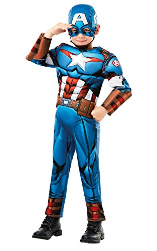 zielles Marvel Avengers Captain America Deluxe Kind costume-large Alter 7–8, Höhe 128 cm, Jungen, one size (Marvel Captain America Kostüme)