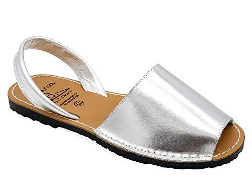 Avarca - Made In Spain - Damen Leder Sommer Sandalen - offene Echtleder Mädchen Menorca Avarcas Slipper Sommerschuhe Strandschuhe Hausschuhe 190 matt-metallic Silver Silber Gr. 36