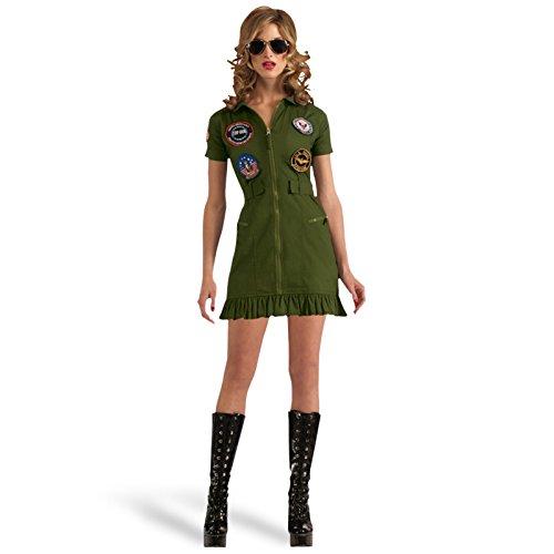 Top Gun Mini Kleid 2-tlg. Kostüm Damen mit Brille zum Actionfilm mit Tom Cruise lizenziert oliv - L