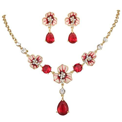 EVER FAITH Elegante colore rubino Fiore austriaco di cristallo a goccia CZ insieme dei monili Gold-Tone N05778-2