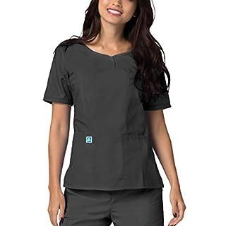 Medical Uniforms Women's Sweetheart V-Neck Hospital Nurse Scrub Top, Color: PWR | Size: S Pewter