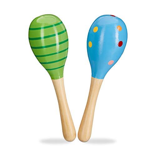 aracas Holz 2er Set, Rassel, pädagogisch wertvolles Musikspielzeug für Kinder, kleine Holzrassel, grün/blau ()